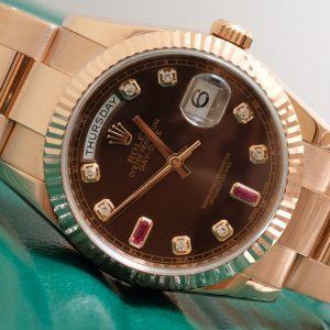 Rolex Day-Date 118235 mặt Chocolate vàng khối 18k Size 36mm