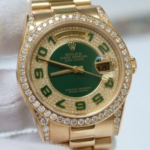 Rolex Day-Date 118338 Diamon Green Dial Yellow Gold Size 36