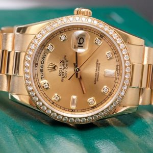 Rolex Day-Date 118348 Champagne Dial Yellow Gold Size 36