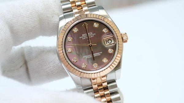 Rolex Lady Datejust 178271 mặt trai tím Everose Gold & Thép 904L
