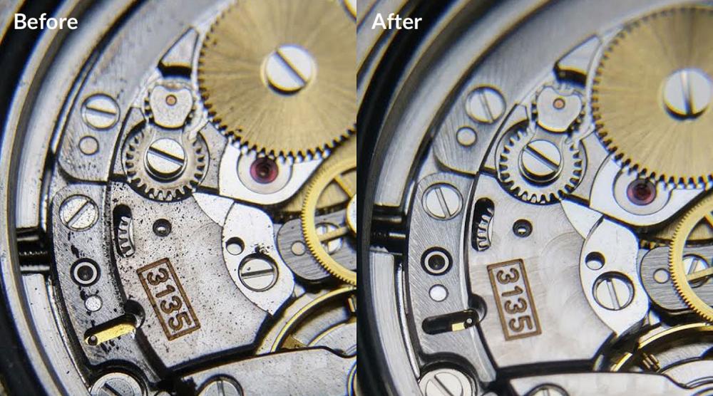 Bộ máy Rolex trước và sau khi bảo trì