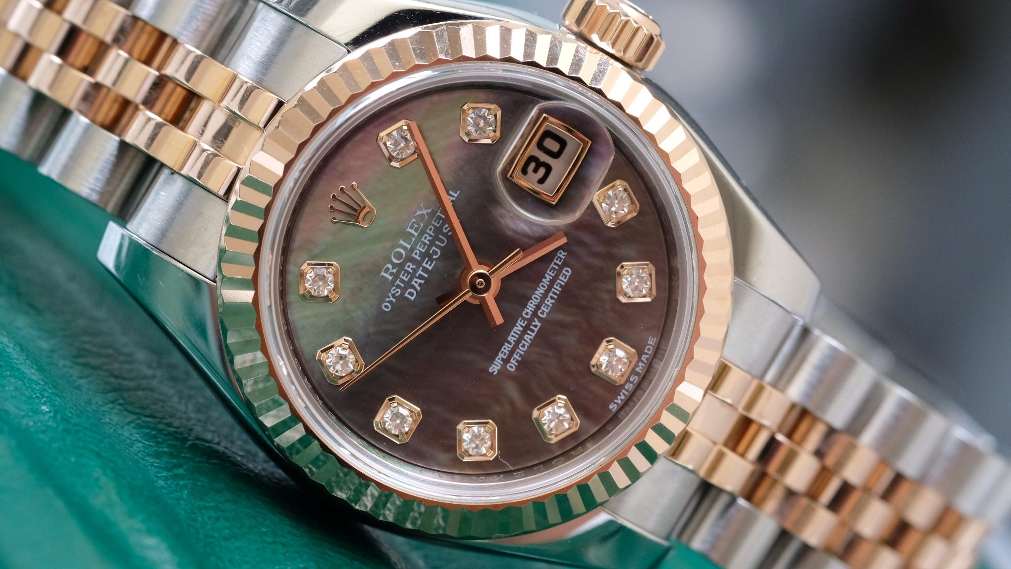 Đồng hồ nữ Rolex Datejust 179171 mặt trai tím size 26mm