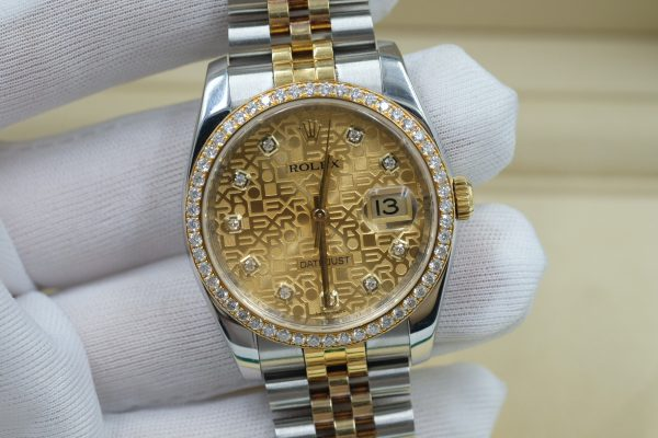 Đồng hồ Rolex Datejust 116243 mặt vi tính vàng size 36mm