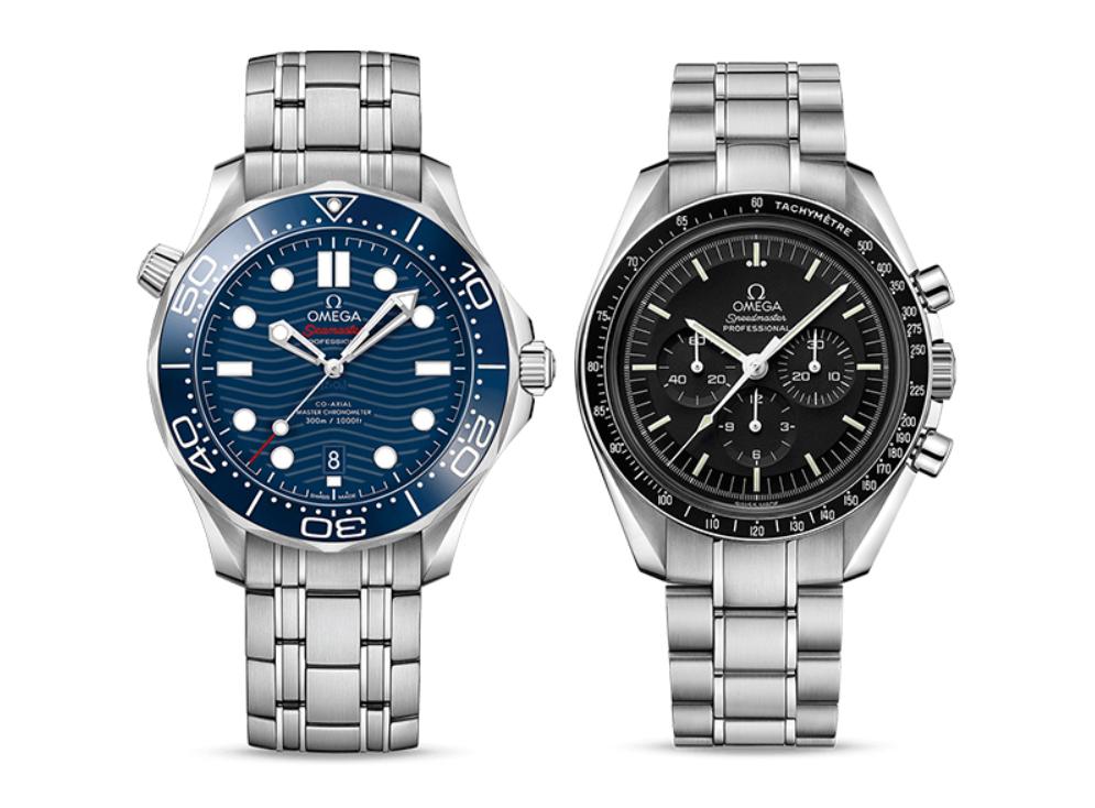 Omega Seamaster Master Chronometer (L) và Omega Speedmaster Professional Chronograph